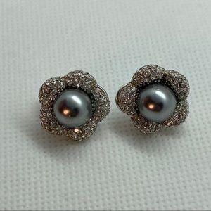 NWOT Cultured Pearl, CZ, Sterling Silver Earrings